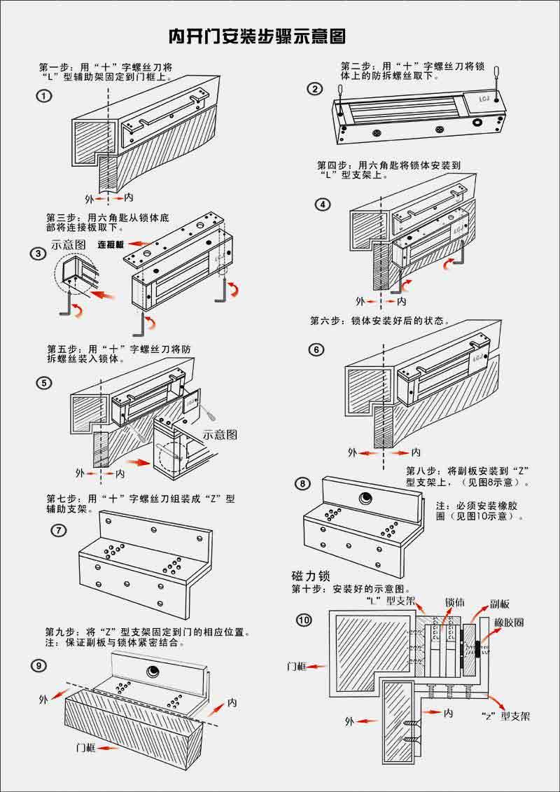 内开门磁力锁辅助支架安装方法示意图